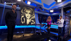 speed painter Paulina Rubio en El Hormiguero 3.0 Madrid Spain glitter painting raivard Final