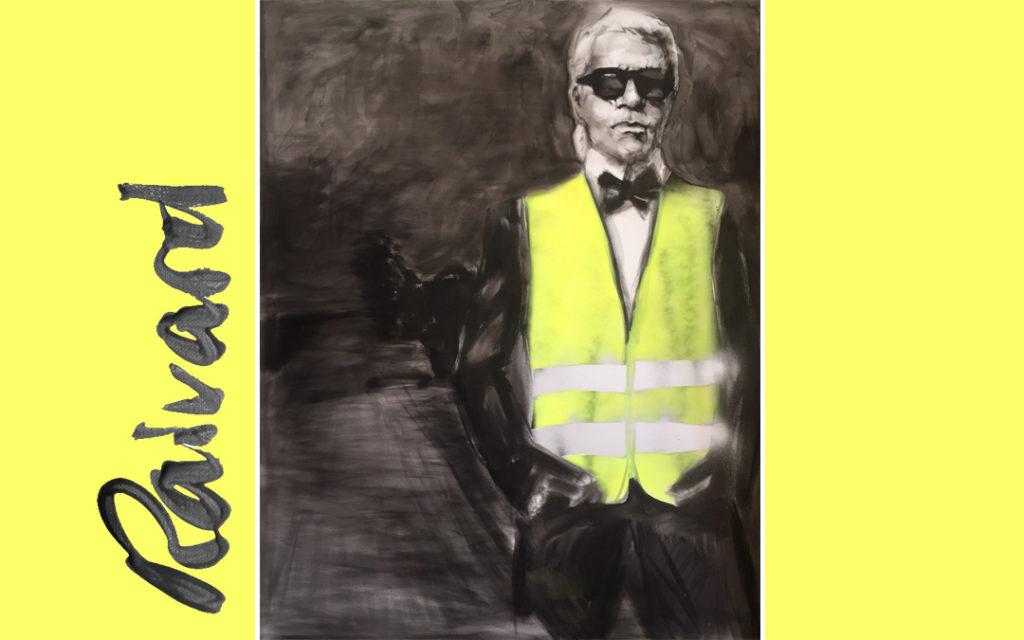 portrait-karl-lagerfeld-gilet-jaune-michael-raivard-680x1024