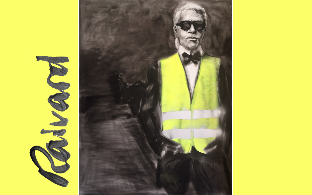 Portrait of Karl Lagerfeld in yellow jacket by Michael Raivard